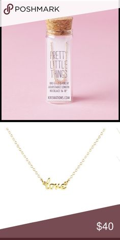 """❤️SALE- NWT GOLD Kris Nations Love Script Necklace New in the bottle Kris Nations Pretty Little Things """"LOVE"""" script necklace. Pendant measures approximately 0.5"""" wide, 18K gold vermeil, Gold-filled chain with adjustable length 16-18 inches. Retails for $58 Kris Nations  Jewelry Necklaces"""