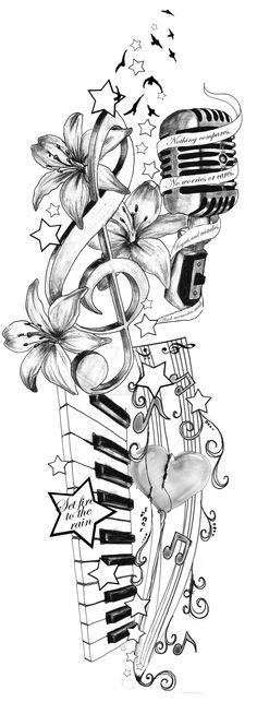 Adele Inspired Tattoo Idea by artfullycreative. on Adele Inspired Tattoo Idea by artfullycreative…. on Adele Inspired Tattoo Idea by artfullycreative…. Music Drawings, Pencil Art Drawings, Art Drawings Sketches, Tattoo Drawings, Music Artwork, Tattoo Cat, Diy Tattoo, Music Tattoo Designs, Music Tattoos