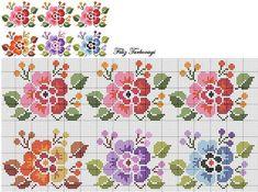 Designed by Filiz Türkocağı Cross Stitch Borders, Cross Stitch Rose, Cross Stitch Flowers, Cross Stitch Charts, Cross Stitch Designs, Cross Stitching, Cross Stitch Embroidery, Embroidery Patterns, Hand Embroidery
