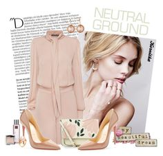 """nr 411 / Cool Neutrals"" by kornitka ❤ liked on Polyvore featuring Balmain, Alexander McQueen, Christian Louboutin, Accessorize, Hourglass Cosmetics, Dyrberg/Kern, Poiray Paris and neutrals"
