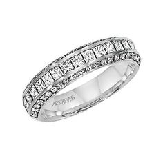 For the bride who wants some bling, this wedding band does not disappoint! Featuring a band of Pav&‌eacute; diamonds, this ring is the perfect companion for ArtCarved's Candice! Wedding Bands For Her, Wedding Band Styles, Wedding Band Sets, Wedding Rings, Diamond Bands, Diamond Wedding Bands, Vintage Inspired Engagement Rings, Pretty Rings, Anniversary Bands