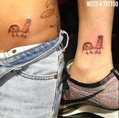 Taco tattoos for national taco day! #Tacotattoos #matchingtattoos #taco #minimalistic #fineline #west4tattoo