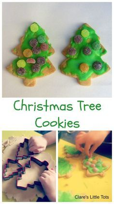 Christmas Tree Cookies festive baking idea for toddlers or preschoolers. Would make a lovely teacher or friends gift. Cooking with kids fun in the kitchen this Christmas.