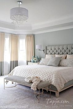 Master Bedroom With Pastel Color Grey Color Plus Bedroom Bench And Pendant Ligh Popular Bedroom Decorating With Pastel Color Ideas And Lighting Bedroom design