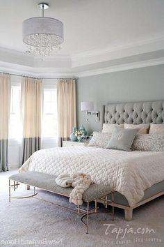 Master Bedroom With Pastel Color Grey Color Plus Bedroom Bench And Pendant Ligh Popular Bedroom Decorating With Pastel Color Ideas And Lighting Bedroom design