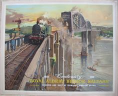 """Royal Albert Bridge, Saltash - Centenary 1859-1959, by Terence Cuneo. A wonderful poster of the Royal Albert Bridge over the River Tamar, separating Devon and Cornwall. We see former Great Western Railway """"Castle"""" class steam locomotive No 5021 'Whittington Castle', with a chocolate and cream train on Brunel's complex and distinctive bridge, in this masterly painting by Cuneo. Original Vintage Railway Poster available on originalrailwayposters.co.uk"""