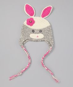 Take a look at this Gray & Pink Bunny Earflap Beanie by Owl Bee Cute on #zulily today!