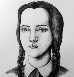 Wednesday Addams, black and white - drawing
