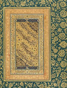 """About 1500 Calligrapher: Sultan 'Ali Mashhadi (active late 15th–early 16th century) India Ink, opaque watercolor, and gold on paper; 15 5⁄16 x 10 1/4 in. (38.9 x 26 cm) The Metropolitan Museum of Art, New York, (55.121.10.32v)  Court art, where calligraphy is vital in spreading messages and recording poetry and verse (as it is in this case). Connects to our learning of """"social structure"""", as only the elite would have read volumes of these verses."""