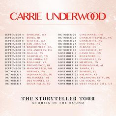 Fall dates of #TheStorytellerTour are now on sale!! See you there!  CarrieUnderwood.FM