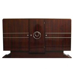 A French Art Deco Rosewood Sideboard/Buffet with Chromed details and 2 inside Drawers.