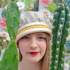 Hut aus Leinen und Stroh handmade by Sonja Rieser