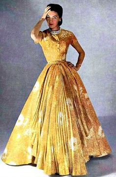 Christian Dior, 1952 50s yellow gown long photo print ad model magazine