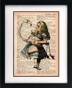 Table decor - alice in wonderland print on vintage book page