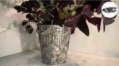 Doniczka ze srebrną koronką, na szybko - Pomysły plastyczne dla każdego