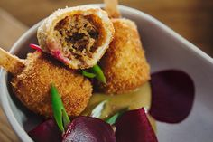 Crumbed, deep-fried balls filled with soft, succulent duck from Bocca Restaurant. Photo courtesy of the restaurant. Cool Restaurant, Restaurant Guide, Street Food, Balls, Lunch, Deep, Ethnic Recipes, Travel, Gourmet