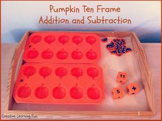 A Pumpkin ten frame addition and subtraction tray task by Creative Learning Fun