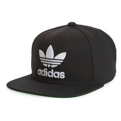 Men's Adidas Trefoil Chain Snapback Baseball Cap ($26) ❤ liked on Polyvore featuring men's fashion, men's accessories, men's hats, mens baseball hats, mens caps and hats, mens snapbacks and mens caps