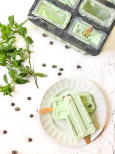 Mint Chocolate Chip Keto Ice Pops - these sugar free pops are very cooling in the hot summer! Only net carbs per pop. Chocolate Chip Ice Cream, Mint Chocolate Chips, Sugar Free Desserts, Low Carb Desserts, Ketonic Diet Plan, Sugar Free Ice Pops, Ice Pop Recipes, Keto Cream, Low Carb Peanut Butter