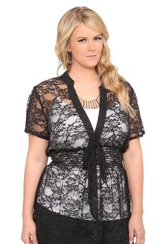 I love Torrid and Torrid.com... They just put one in OKlahoma CIty and I am so EXCITED!!!  Fashionable things for women with curves.    Black Lace Smocked Tie Front Top | Laced Up