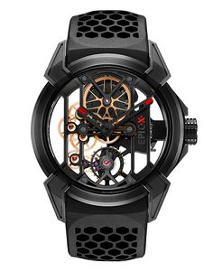 "Epic X watches are a modern evolution of one of the most traditional forms of watchmaking. The open-worked, or ""skeletonized"" timepiece allows the movement to be visible both through the dial and the"
