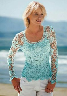 Crochet sky blue top