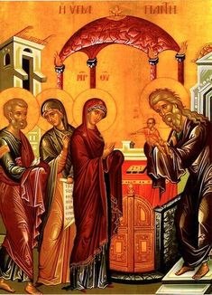 Orthodox icon of the Presentation of our Savior Jesus Christ into the Temple Contemporary icon, Greece Note: the sizes are not exact. Orthodox Catholic, Orthodox Christianity, Religious Icons, Religious Art, Jesus In The Temple, Prayer Corner, Russian Icons, Orthodox Icons, Kirchen