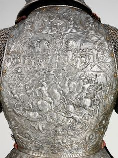 "museum-of-artifacts: "" Back of a ceremonial Armor of French king Henri III. This armor was severely damaged by fire in the destroying its gorget (collar) and arm defenses and melting off the gilding that originally covered all its exterior. Ancient Armor, Medieval Armor, Medieval Fantasy, Dark Fantasy, Fantasy Armor, Armadura Medieval, Samurai, Landsknecht, Knight Armor"