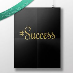 Success Quote Gold Glitter Letters Motivational Design Success Printable Quote Instant Download Wall Art for Bedroom or Office
