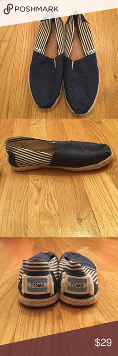 TOM'S classic stripe espadrilles, navy blue size 6 NEVER BEEN WORN! Brand new! Size 6 toms espadrilles in navy blue with thin stripe. Classic canvas lining and reinforced sole. TOMS Shoes Espadrilles