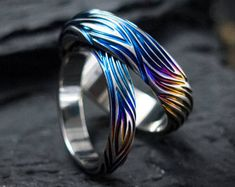 Tornado Wedding Titanium Ring. Wedding bands. Colored titanium ring. Titanium Wedding rings. Custom wedding bands. titanium wedding rings.