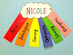 My first graders did these.  So cute and colorful!!! Acrostic poem rainbow...possibly use for hallway bulletin board?