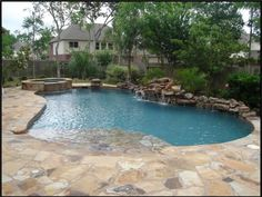 and that flagstone patio would lead to a beach-entry saltwater pool.