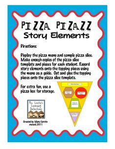 This activity makes for an excellent literacy station/center! Students create a pizza slice by writing story elements on the pizza toppings. Comprehension Activities, Reading Strategies, Reading Activities, Reading Skills, Teaching Reading, Reading Comprehension, Teaching Ideas, Reading Response, Reading Resources