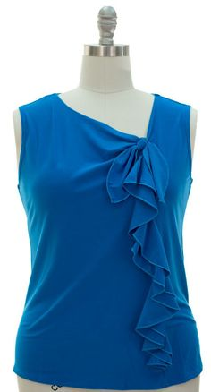 So cute!!! Ruffle Top Sleeveless - Turquoise