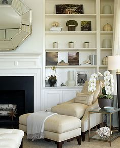 Plum Interiors: White & camel elegant living room design with fireplace octagon mirror, white built-ins . Elegant Living Room, My Living Room, Home And Living, Living Spaces, Living Area, Cottage Living, White Built Ins, Bookshelves Built In, Bookcases