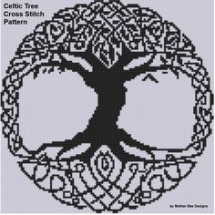 Cross Stitch Design Celtic Tree Cross Stitch Pattern Size on 14 count roughly 8 X 8 Includes Cross Stitch Tips - Cat Heart Cross Stitch Pattern Size on 14 count roughly X Includes Cross Stitch Tips Celtic Cross Stitch, Cross Stitch Tree, Cross Stitch Heart, Dragon Cross Stitch, Cross Stitching, Cross Stitch Embroidery, Embroidery Patterns, Stitch Crochet, Filet Crochet
