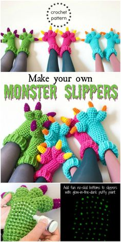 Monster Amigurumi Make your own monster slippers! Lovely crochet pattern for cozy and fun monster slippers for the whole family! Part of a monster pattern round up by Stuffed, crocheted, amigurumi toy monsters are adorable and make fun handmade gifts Crochet Socks, Crochet Gifts, Cute Crochet, Crochet For Kids, Crotchet, Easy Crochet Slippers, Crochet Slipper Boots, Funny Crochet, Crochet Food