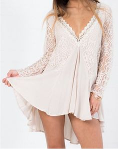 Fashionable Plunging Neck Lace Splicing Long Sleeve Dress For Women Long Sleeve Dresses | RoseGal.com Mobile