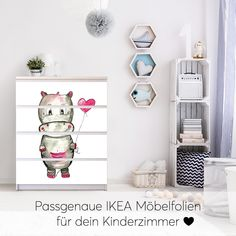 Foil for furniture IKEA Malm chest of drawers 4 drawers - design: hippo with heart - Kinderparadies Ikea Malm Dresser, Drawer Design, Ikea Shelves, Best Ikea, Wooden Stools, Ikea Furniture, Chest Of Drawers, Ikea Hacks, Levis