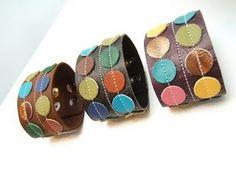 polka dot leather bracelets