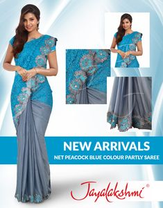Hey girls, Have a look at our #NewArrivalSarees , Net Peacock Blue Colour Partly Saree with Attached Fancy Borders. The net body & ash shimmer combo make it more lovely. You will definitely love this,once you checked in . #JayalakshmiSilks #PeacockBlueSaree #ThreadDesign #PartlySaree #TrendySarees #PartywearSarees #BlueColourSarees #FancySarees