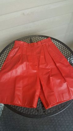 Red leather women culottes, SZ3 #Handmade #Casual