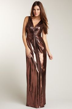 Phoebe Couture Metallic Knotted Center Gown