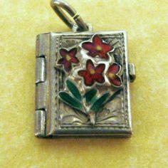 Vintage Austrian 800 Silver Enamel ENZIAN FLOWER PHOTO BOOK LOCKET Charm