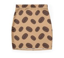 Cool Brown Coffee beans pattern Mini Skirt by #PLdesign #coffee #cool #brown #redbubble