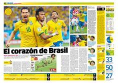 Brasil - Croacia. Diseño para la nota del partido. #layout #design