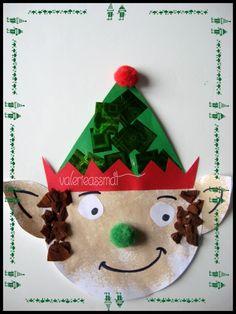 après la comptine des petits lutins de noel, voici l'activité & le lutin du père noel & , gabarit réalisé par nounou, peinture pour le visage et les oreilles, collage de petit papier cadeaux vert brillant pour le chapeau, papier crépon marron pour les...