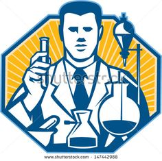 Illustration of scientist laboratory researcher chemist holding test tube flask done in retro style.  - stock vector #scientist #retro #illustration