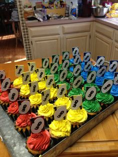 UNO cupcakes for a first birthday party